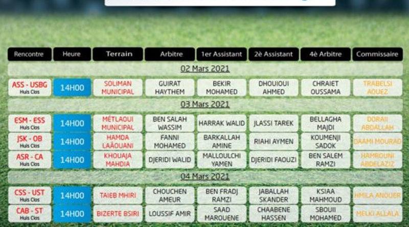 15. Spieltag der Liga 1 Tunesien am 2.-4. März 2021 - Rückrunde