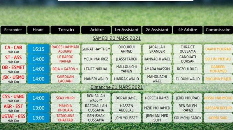20. Spieltag der Liga 1 Tunesien am 20./21. März 2021 - Rückrunde